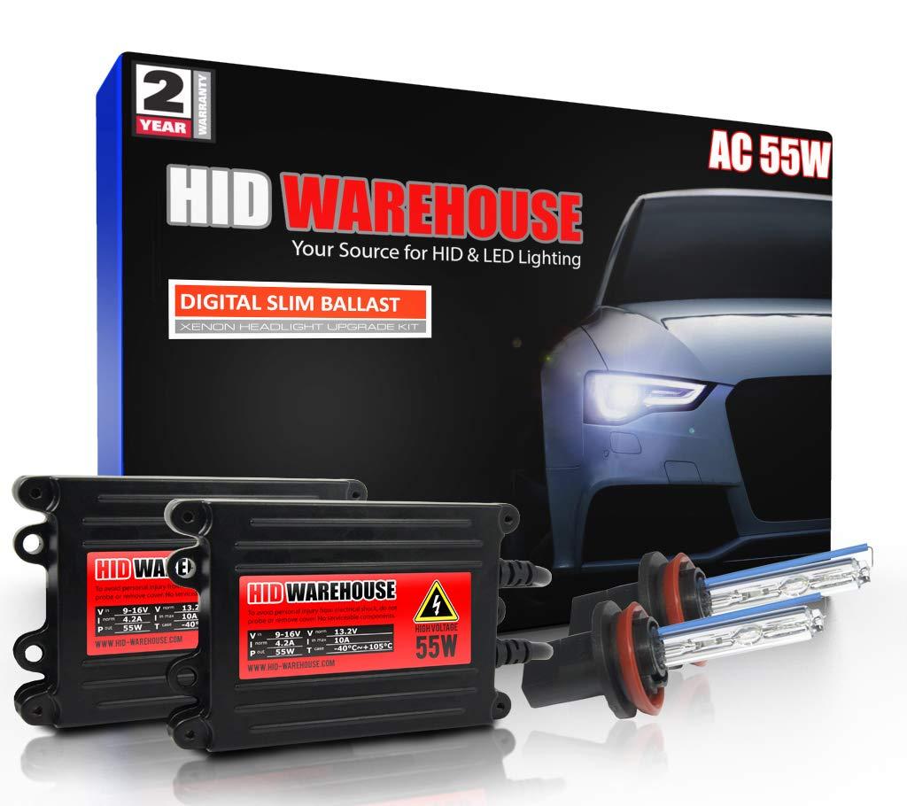 HID-Warehouse 55W AC Xenon Bundle with Slim AC Ballast (1 Pair) - H11 10000K - 10K Dark Blue Xenon Bulbs (1 Pair)