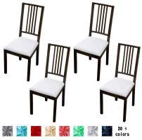 Argstar 4 Pack Soft Premium Jacquard Chair Seat Cover for Dining Room, Stretch Fitted Removable Dining Chair Seat Cushion Slipcover Set of 4, White