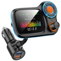 """FM Transmitter Car Bluetooth 5.0 Wireless in-Car FM Radio Adapter QC3.0&5V/2.4A Charger 1.77"""" TFT Color Screen/Car Battery Reading/TF Card/U Disk/4 Music Play Modes/Hands-Free Calling/7 EQ Modes"""