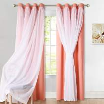 PONY DANCE Mix & Match Sheer Curtains - Window Treatments Light Block Curtain Drapery Grommet Top with Elegance Sheer Panels, 52 by 108 in, Coral, 2 Pieces