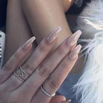 Awanka Coffin Press on Nails Nude Ballerina Fake Nails Medium Length False Nails Glossy Natural Fake Fingernails Full Cover Acrylic Nails Instant Nails Atificial Nails for Women and Girls (24Pcs)