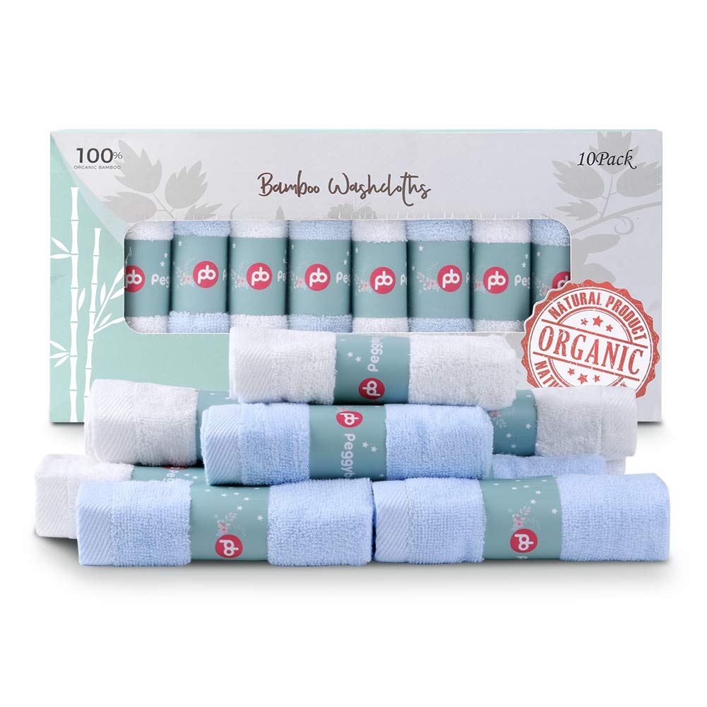 Ultra Soft for Baby Registry as Shower Gift Set,12x12inch Baby Face Towels -6 Pack Extra Soft Absorbent for Newborn//Infant//Kids//Adults Blue MUKIN Bamboo Baby Washcloths