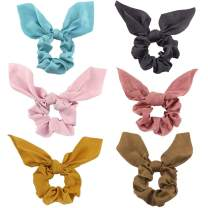 Hair Scrunchies with Bow - 6 Pack Elegant Cute Bow Scrunchies for Hair Elasitc Ponytail Holder