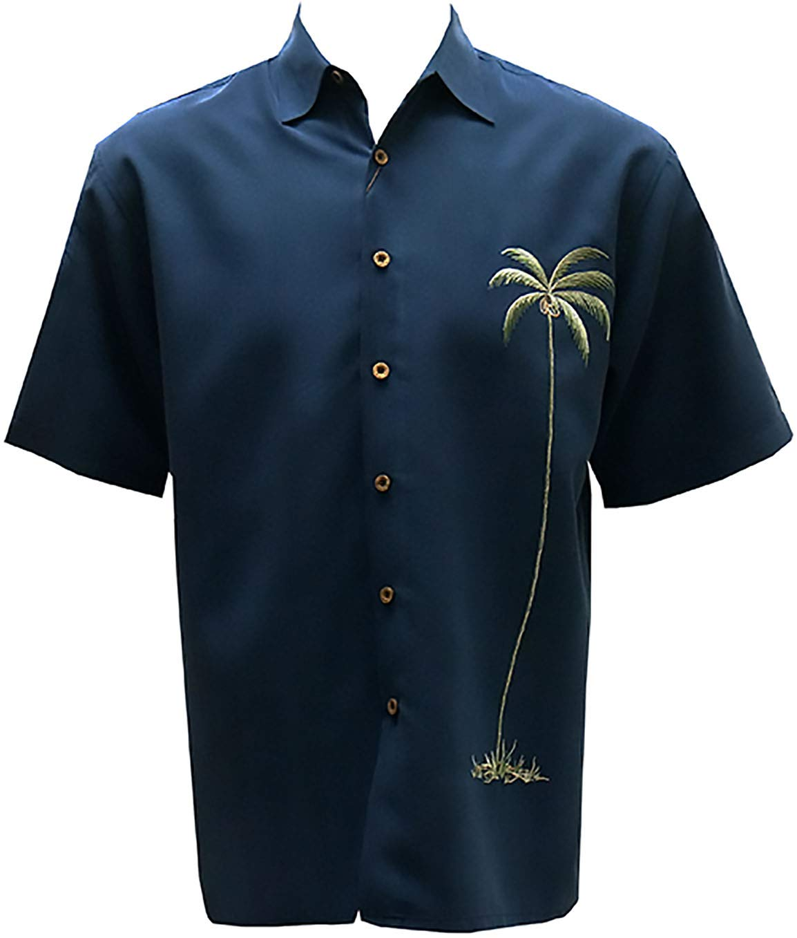 Bamboo Cay Mens Short Sleeve Single Palm Casual Embroidered Woven Shirt