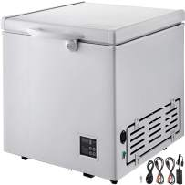 VBENLEM Chest Freezer,63 Quart Commercial RV Deep Freezer,2.1 cu.ft. Compact Vehicle Electric Cooler Fridge 12V/24V DC With Lock for Car Home Camping Truck Party,-0.4℉-32℉ Suit for Solar Power