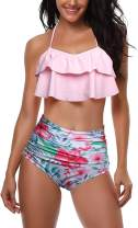 JOYCHEER Womens High Waist Swimsuits Flounce Falbala Bikini Set Two Piece Padded Bathing Suit