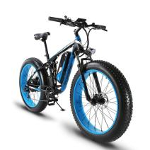 VTSP Electric Bike Fat Tire Mountain Bicycle Snow E-Bike,XF800 1000W 48V 13A 7 Speeds Beach Cruiser Full Suspension Lithium Battery Hydraulic Disc Brakes 18'' x 26'' 5 PAS(US Warehouse)