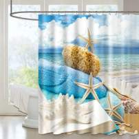 VIS'V Shower Curtain, Waterproof Fabric Shower Curtain 72 x 72 Inch Washable Heavy Duty Shower Curtain with 12 C Shaped Shower Curtain Hooks for Bathroom - Beach Shells