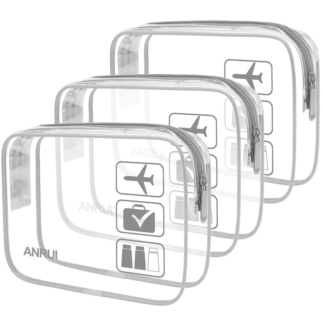 Anrui Clear Toiletry Bag Tsa Approved Travel Carry On Airport Airline Compliant Bag Quart Sized 3 1 1 Kit Travel Luggage Pouch 3 Pack Grey
