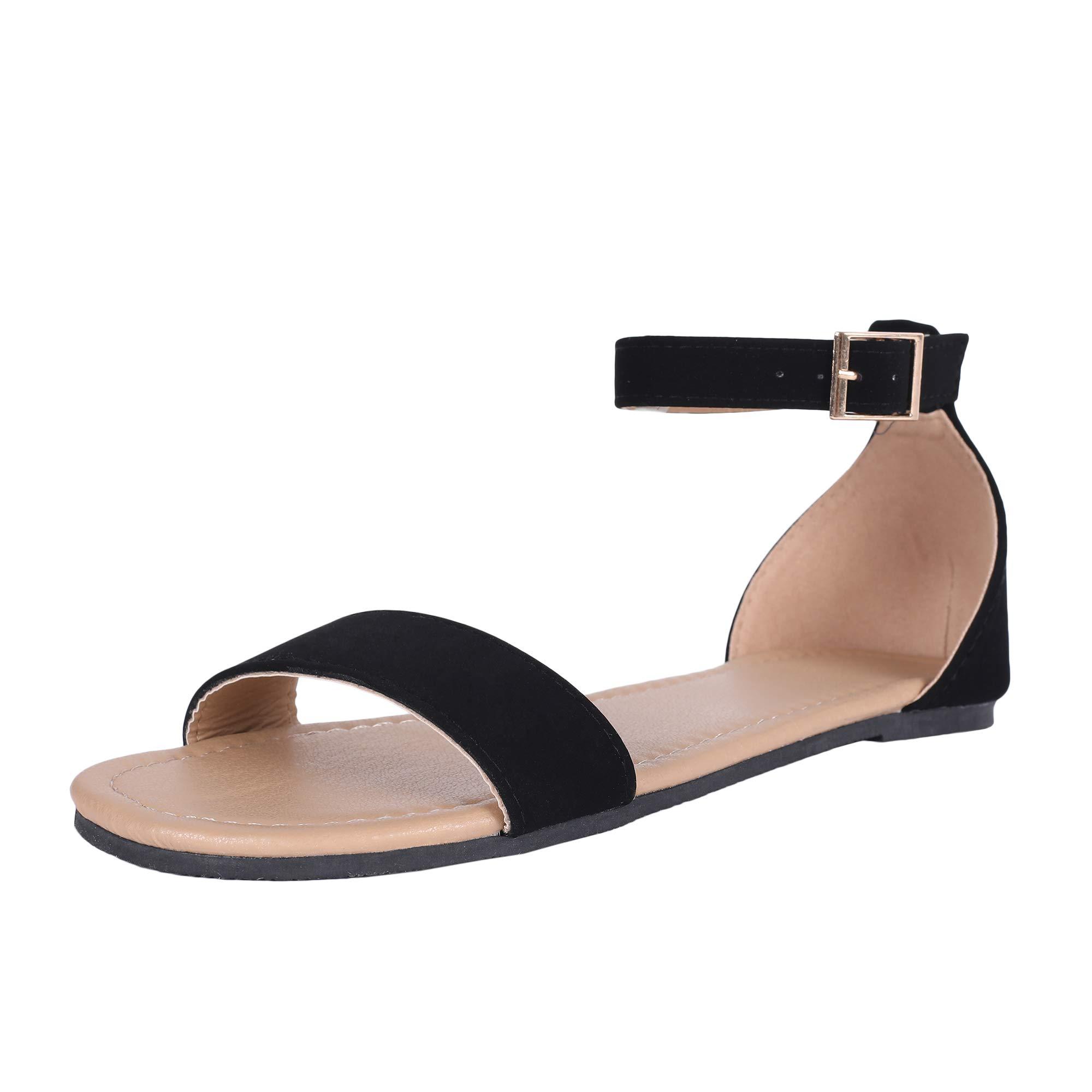 LAICIGO Womens Ankle Scalloped Strap Flat Sandals Open Toe Faux Suede Back Zipper Low Heel Summer Dress Casual Shoes