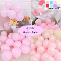 Party Pastel Balloons 200 pcs 5 inch Macaron Candy Colored Latex Balloons for Birthday Wedding Engagement Anniversary Christmas Festival Picnic or Any Friends & Family Party Decorations-Pastel Pink