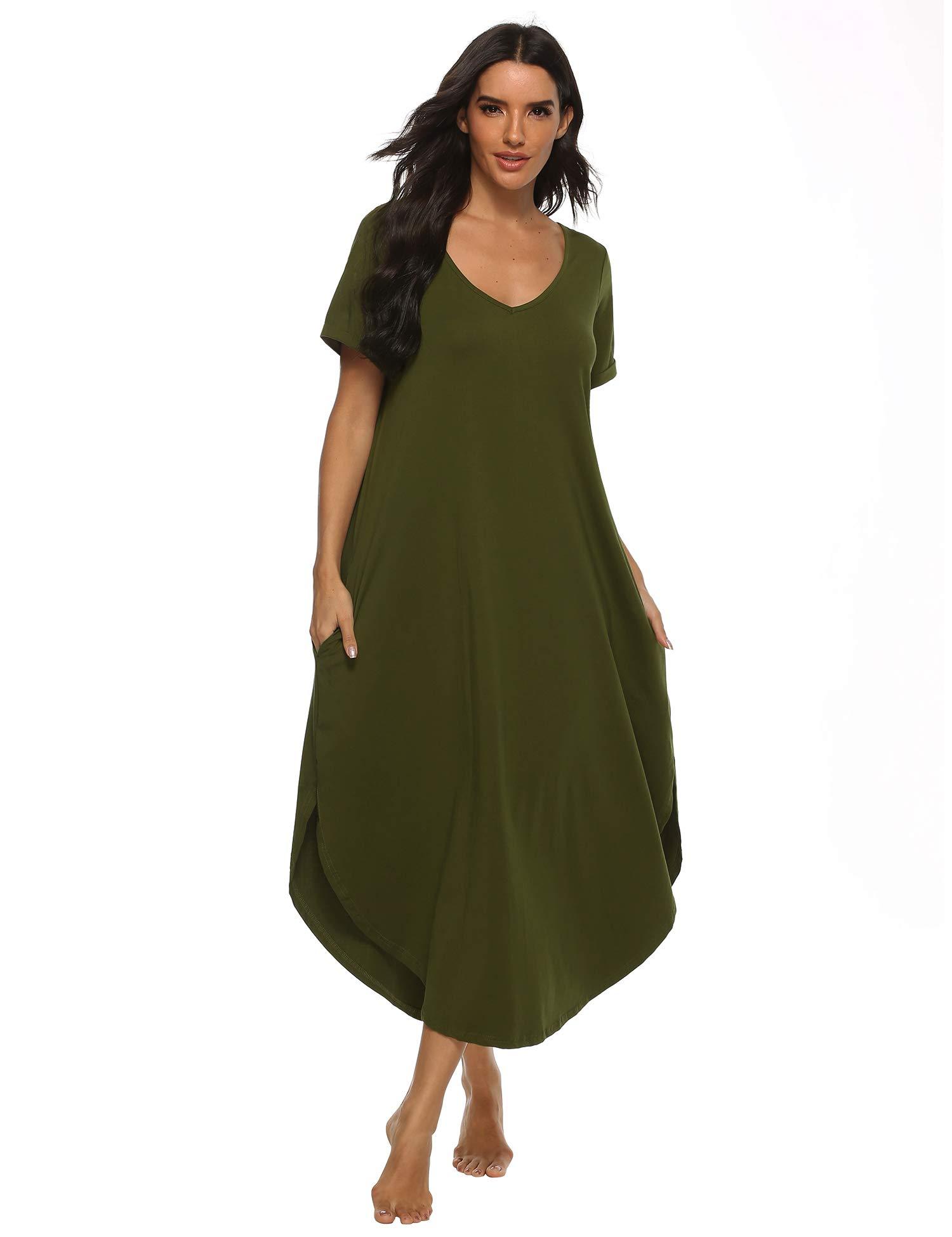 Alletya Women's Casual Night Dress V Neck Long Night Shirt Short Sleeve Nightgown Cotton Sleep Shirt Sleepwear Pajama S-XXL