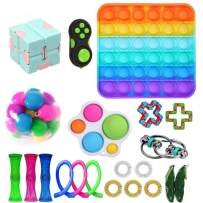 PlioRyo Fidget Toy Packs, Cheap Sensory Fidget Toys Pack with Simple Dimple Pop Bubble Infinite Cube Stress Ball Marble and Mesh and Anti-Anxiety Toys (Square)