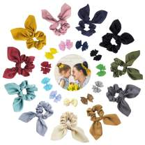 22Pcs Hair Tie Scrunchies,11Pcs Rabbit Bunny Ear Bowknot Elastic Hair Bands Ponytail Holder,11Pcs Tiny Hair Bows Clips,for family Kids,Girl, and Women.