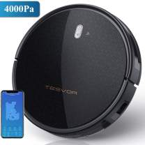 Tesvor Robot Vacuum Cleaner - 4000Pa Strong Suction Robot Vacuum, Alexa Voice and APP Control, Self-Charging Robotic Vacuum Cleaner with 5200mAh Battery, Perfect for Low-Pile Carpets, Hard Floors