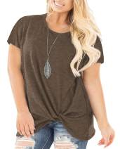 Women's Loose Casual Knot Twisted Tops Tunic Blouse Solid Color Short/Long Sleeve T Shirts