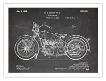 Harley Davidson Motorcycle Poster 1928 Patent Art Handmade Giclee Gallery Print Blackboard Unframed (18 x 24)