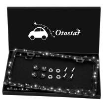 Otostar Handmade Waterproof Bling Bling Rhinestones Stainless Steel License Plate Frame with Screws Caps Gift Box - 2 Pack (Black 3 Rows 2 Holes)
