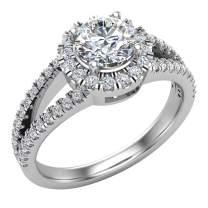 Split Shank Halo Diamond Ring 1.20 ctw Engagement Ring 14K Gold - GIA Certificate