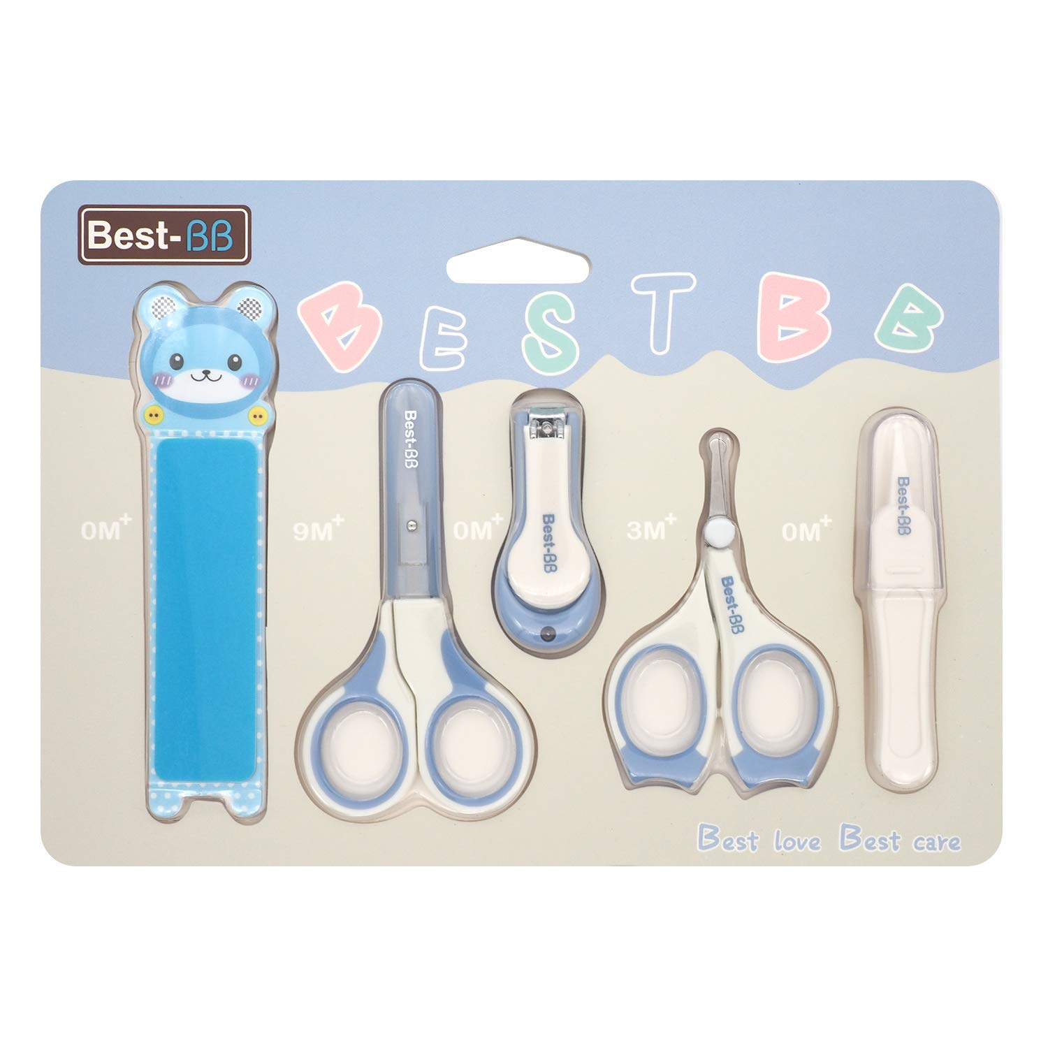 5 Pieces Baby Nail Clipper Set Including Nail Scissors and Tweezer, Kids Manicure Set Grooming Kit for Toddler, Infant Baby Nail Care Kit for Newborn (Blue)