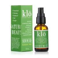 Klo Organic Beauty Serum for Normal-Dry Skin, Anti-Aging Serum, All-Natural Hydrating Face Serum, Bright Glowing Skin, Vitamin E, Jojoba, Orange, Lavender Oil