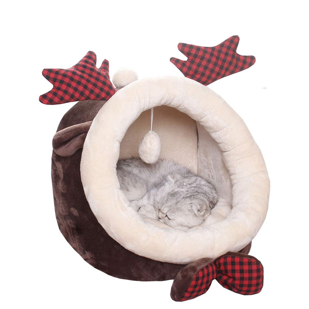 ABLAZEZAI Pet Cave Cozy Bed for Cats, Kittens, Puppies and Small Dogs,Soft All Season Nest,Removable Cushion Non-Slip Bottom