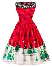 Womens Christmas Dress 1950s Vintage Christmas Holiday Dress Snowflake Elk Print A-line Cocktail Party Swing Dresses