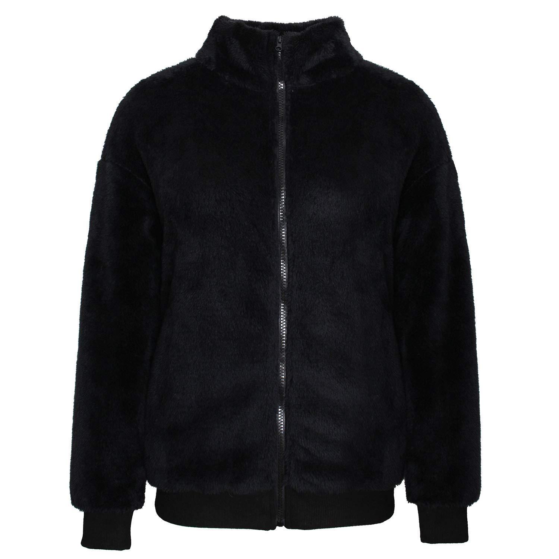 MAKARTHY Women's Long Sleeve Fuzzy Sherpa Lightweight Fleece Jacket Full Zip Up Warm Winter Coat