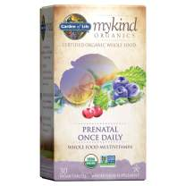Garden of Life Organic Prenatal Multivitamin Supplement with Folate - mykind Prenatal Once Daily Whole Food Vitamin, Vegan, Organic, Non-GMO & Kosher, 30 Tablets *Packaging May Vary*