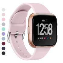 MEFEO Bands Compatible with Fitbit Versa, Soft Silicone Sport Band Breathable Wristband Replacement Strap for Fitbit Versa/Versa 2/Versa Lite/Special Edition Women Men (Small, Sand Pink)