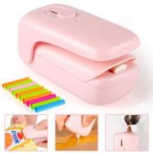 Mini Bag Sealer, Kaqulec 2 in 1 Heat Sealer and Cutter Handheld Chip Bag Sealer with Magnet for Plastic Bags Food Storage Snack Fresh (Pink)