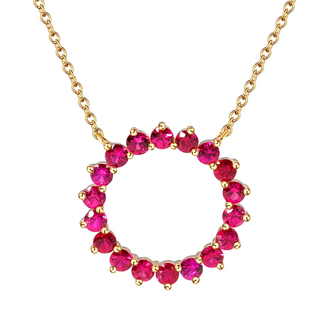 FANCIME 14K Real Solid White/Yellow Gold Natural Blue Sapphire/Ruby Round Circle Necklace July/September Birthstone Minimalism Fine Jewelry for Women