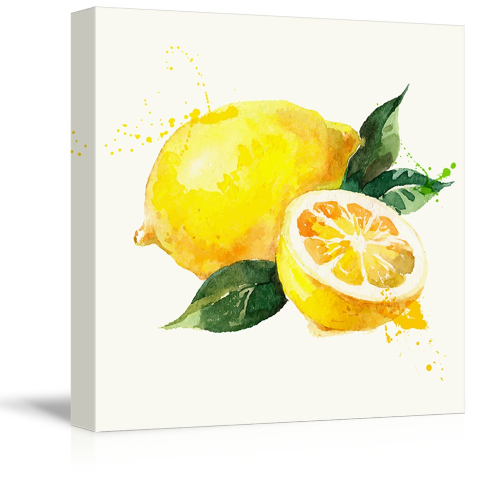 wall26 - Square Canvas Wall Art - Lemon Watercolor | Fruits Watercolor Art and Illustrations - Giclee Print Gallery Wrap Modern Home Decor Ready to Hang - 16x16 inches