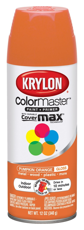 Krylon K05241107 ColorMaster Paint + Primer, Gloss, Pumpkin Orange, 12 oz.