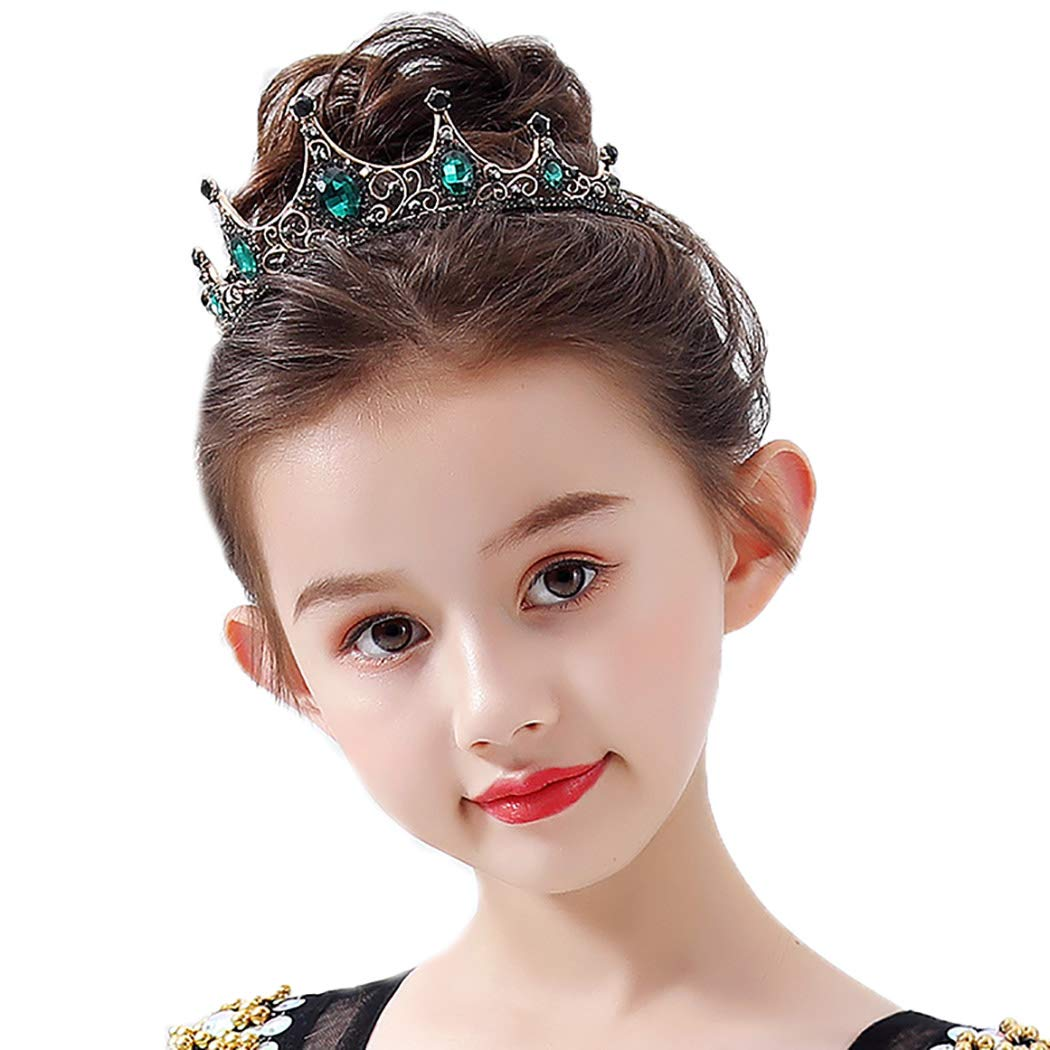 Campsis Princess Costume Tiara Crystals Crown with Combs Headband Birthday Gift for Kids Toddlers Girls Party Prom Pageant (Green)