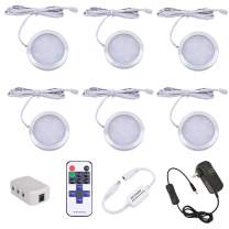 AIBOO LED Under Cabinet Lighting Fixture Kitchen Under Counter Lights with Plug in and Wireless RF Remote Control, 6 Thin Cabinet LED Puck Light Kits (4000K Natural White)