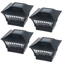 GreenLighting Black Aluminum 4x4 Solar Post Cap Light - Wood/PVC Posts (4 Pack)
