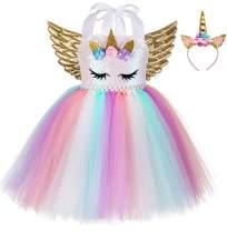 Birthday Unicorn Costume for Girls Halloween Princess Party Tutu Dress with Wings and Headband