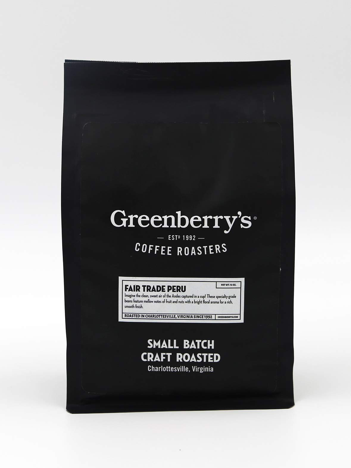 Greenberry's Coffee Co. - Fair Trade Peru Whole Bean - Bold, Fresh, 100% Arabica, Medium Roast Beans, 12 oz
