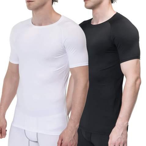 Cadmus Mens 3 Pack Workout Compression Shirts Running Short Sleeve Baselayer