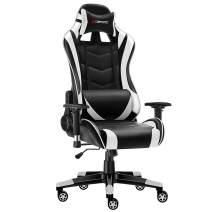 JL Comfurni Gaming Chair Racing Style Ergonomic Swivel Computer Office Chairs Adjustable Height Reclining High-Back with Lumbar Cushion Headrest Leather Chair (S06-Black+White)