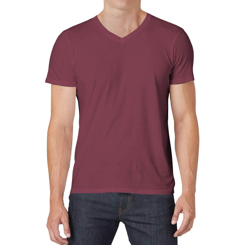 QUALFORT Men's Cotton V Neck T-Shirt