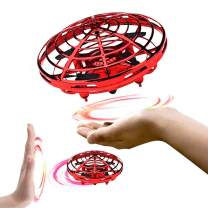 BixMe Hand Operated Flying Mini UFO Drone ,Hands Free Helicopter Birthday Gift Hand Controlled Mini Quadcopter for Kids Boys and Girls Party Present Interactive Flying Ball Toy with LED Lights(Red)