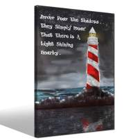 LevvArts - Modern Canvas Print Wall Art Red Lighthouse with Inspirational Quote Painting Canvas Artwork Motivation Poster for Living Room Bedroom Home Office Decorations Framed