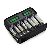 EBL Charger and Batteries Set - 8Slot LCD Battery Charger USB Type C Input and AA Batteries 2800mAh (4Pcs) & AAA 1100mAh Rechargeable Batteries (4Pcs)
