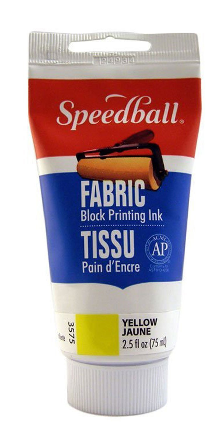 Speedball 003575 Fabric Block Printing Ink – Premium Fabric Block Printing Ink 2.5 FL OZ (75CC), Yellow