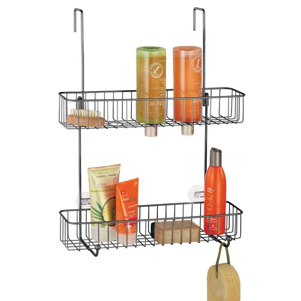 mDesign Extra Wide Metal Wire Over the Bathroom Shower Door Caddy, Hanging Storage Organizer Center with Built-In Hooks and Baskets on 2 Levels for Shampoo, Body Wash, Loofahs - Graphite Gray