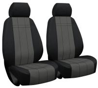 Front Seats: ShearComfort Custom Waterproof Cordura Seat Covers for Toyota Tacoma (2016-2020) in Black w/Gray for Buckets w/Adjustable Headrests