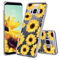 MOSNOVO Galaxy S8 Case, Galaxy S8 Case for Women, Floral Flower Sunflower Clear Design Transparent Plastic Hard Back Case with Soft TPU Bumper Protective Case Cover for for Samsung Galaxy S8 (2017)