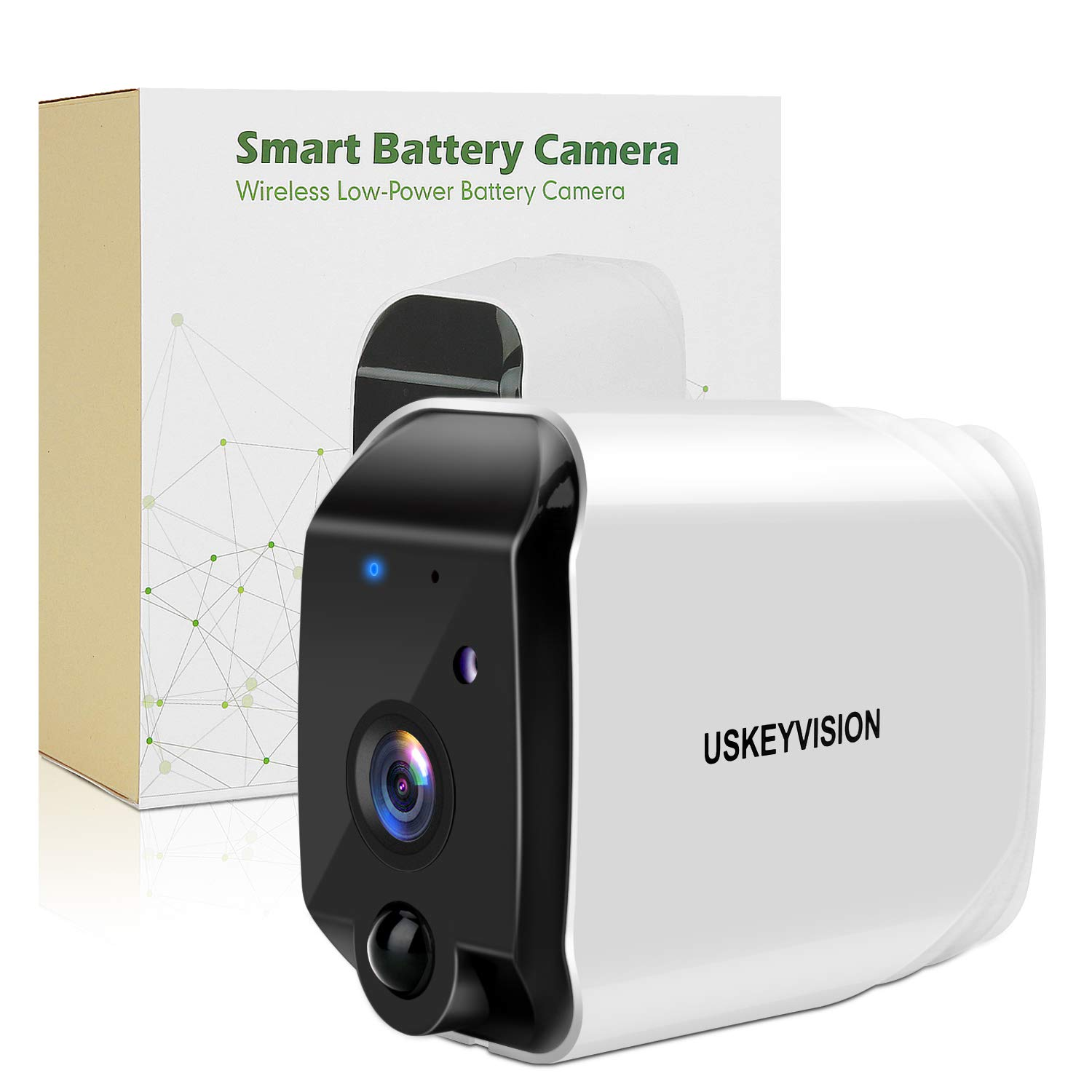 Wireless Battery Powered Outdoor Camera,Battery Security Camera, Rechargeable Wireless Security Camera, Wirefree Indoor/Outdoor Security Camera,with 16 GB SD Card,1080P Wireless Camera (USKEYVISION)